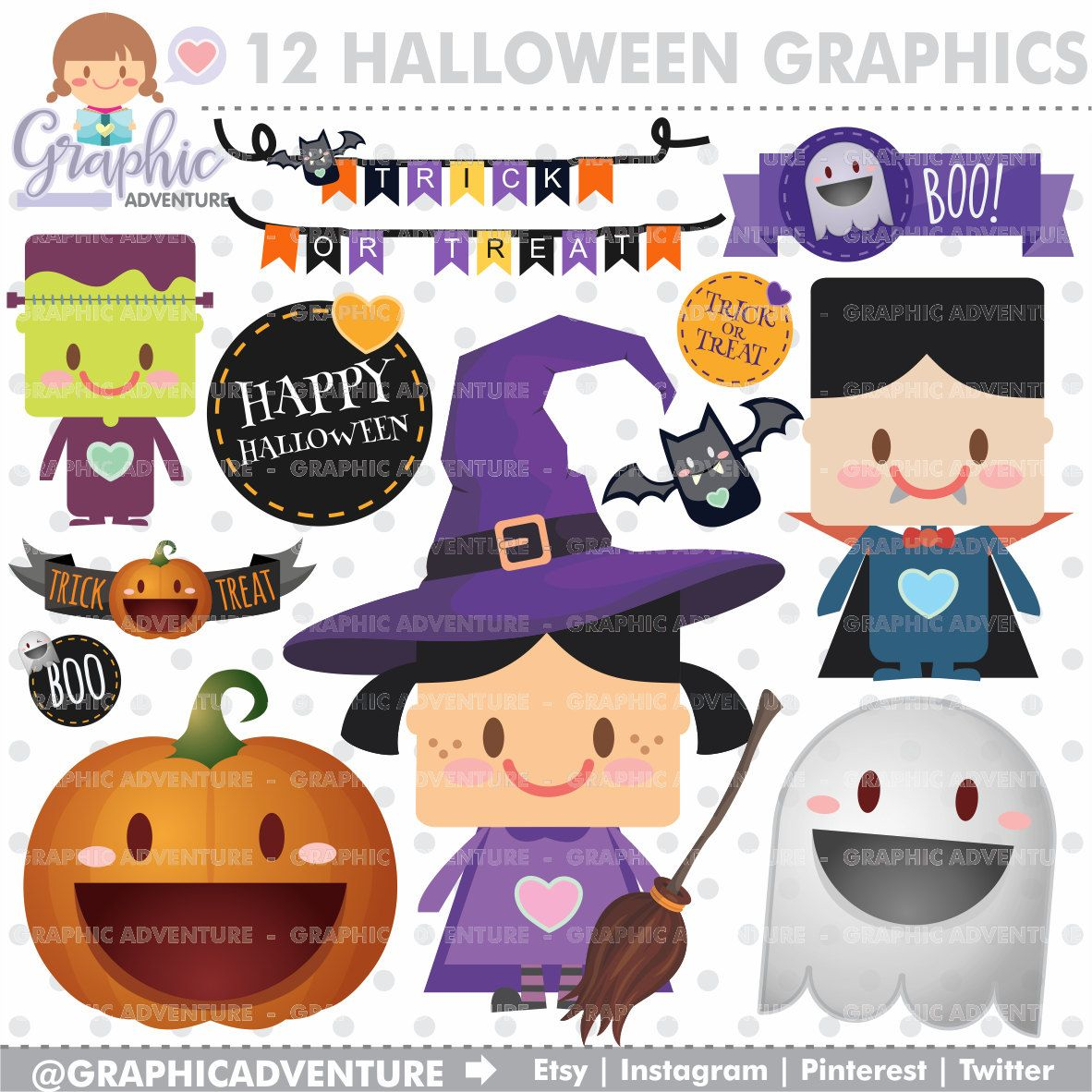 Halloween Clipart, Halloween Graphics, COMMERCIAL USE, Kawaii ...