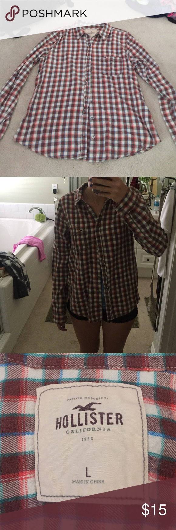 Hollister flannel Cute hollister flannel, size large. Colors are red, cream, and brown mostly with small amounts of blue and green stripes Hollister Tops Button Down Shirts