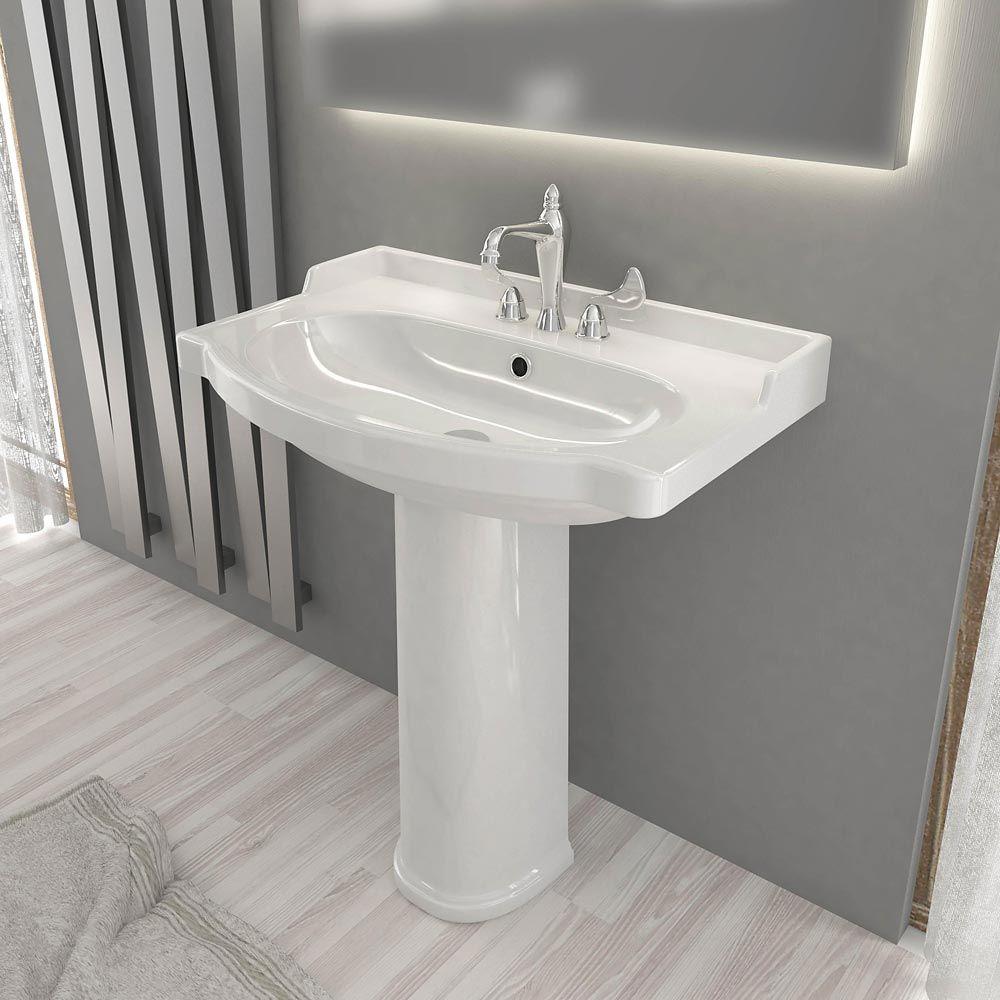 Lavandino Bagno Con Piede lavabo su colonna 61x50 onda in ceramica (con immagini