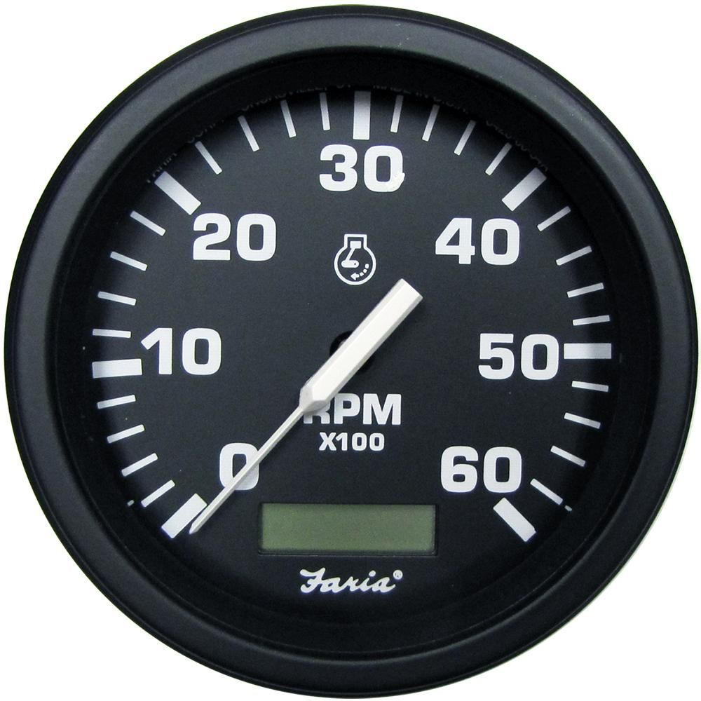 faria 4 hd tachometer w hourmeter 6000 rpm gas black 43004  [ 1000 x 1000 Pixel ]