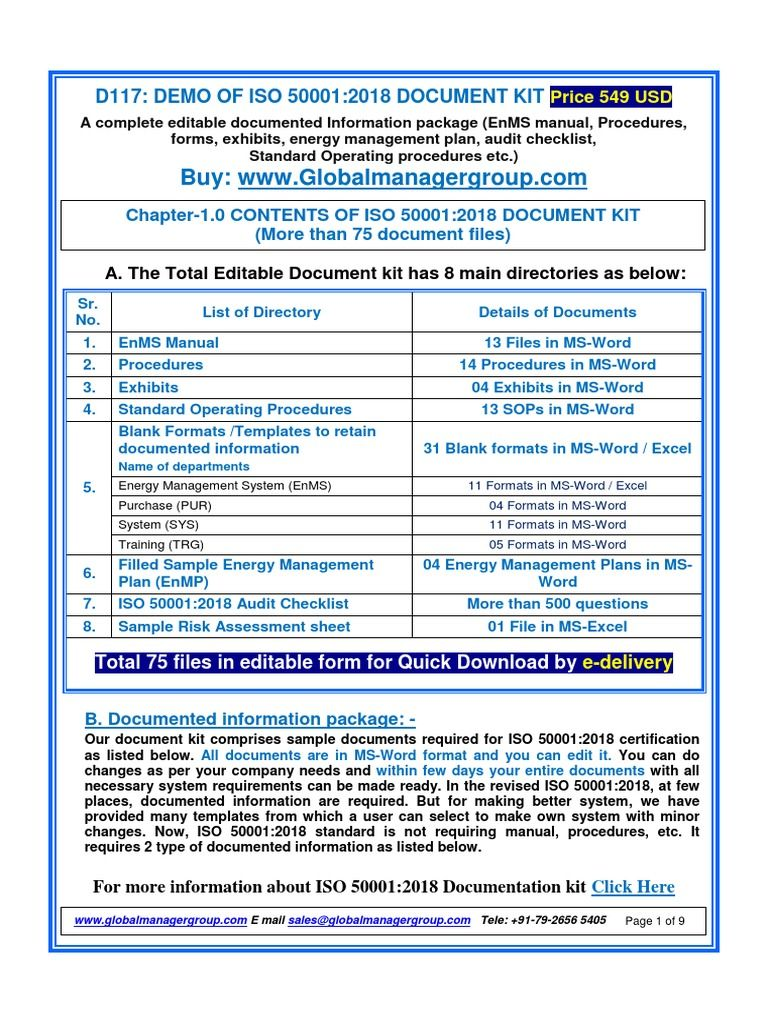Demo of ISO 500012018 Documentation Kit Word free