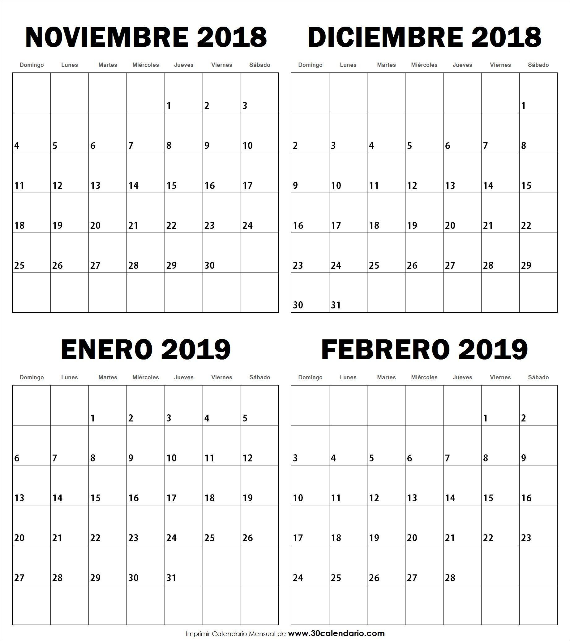 Noviembre Diciembre Enero Febrero Calendario Con