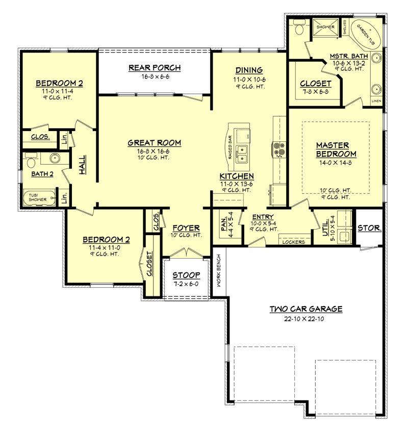 Winning floor plan 1600 39 get rid of tub in master add for Rear master bedroom house plans