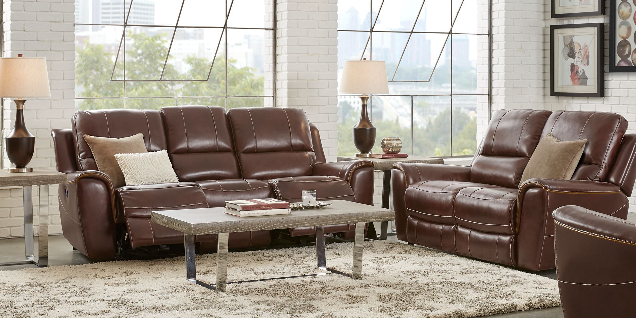 Lanzo Merlot Leather 5 Pc Living Room With Reclining Sofa Rooms
