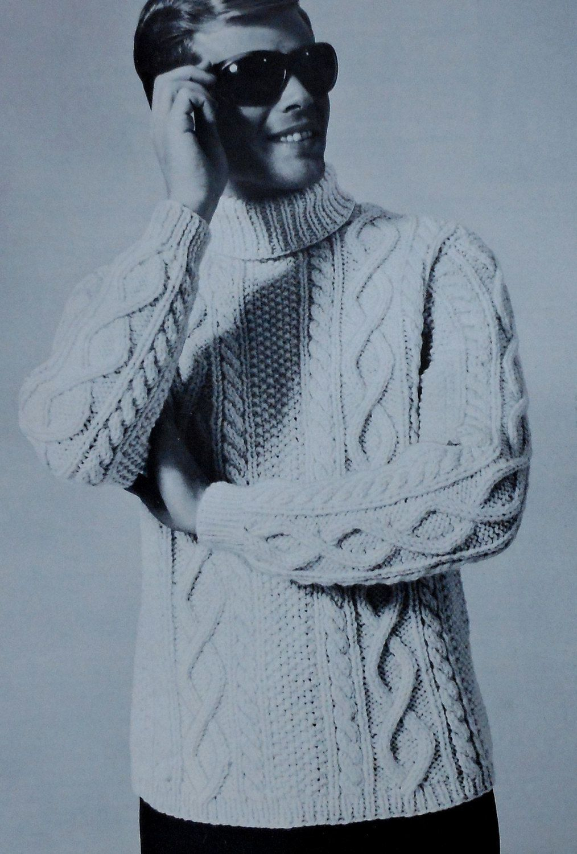 Vintage Men's Aran Style Turtleneck Sweater Knitting Pattern