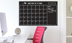 Suitable for a home or office, this wall calendar features a chalkboard square for each day of the month to help with time management