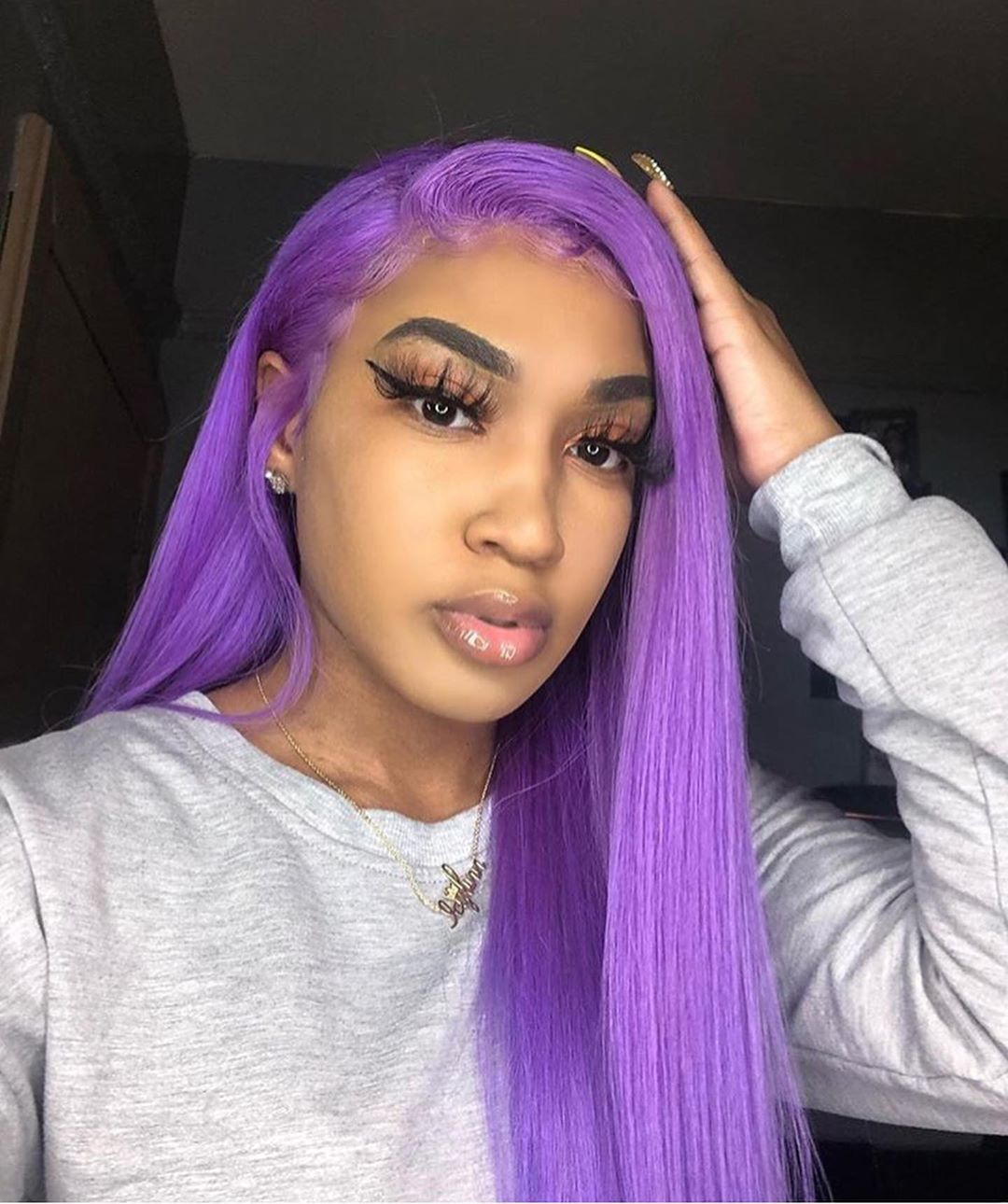 Customized 22 inch pure purple straight pre_plucked front