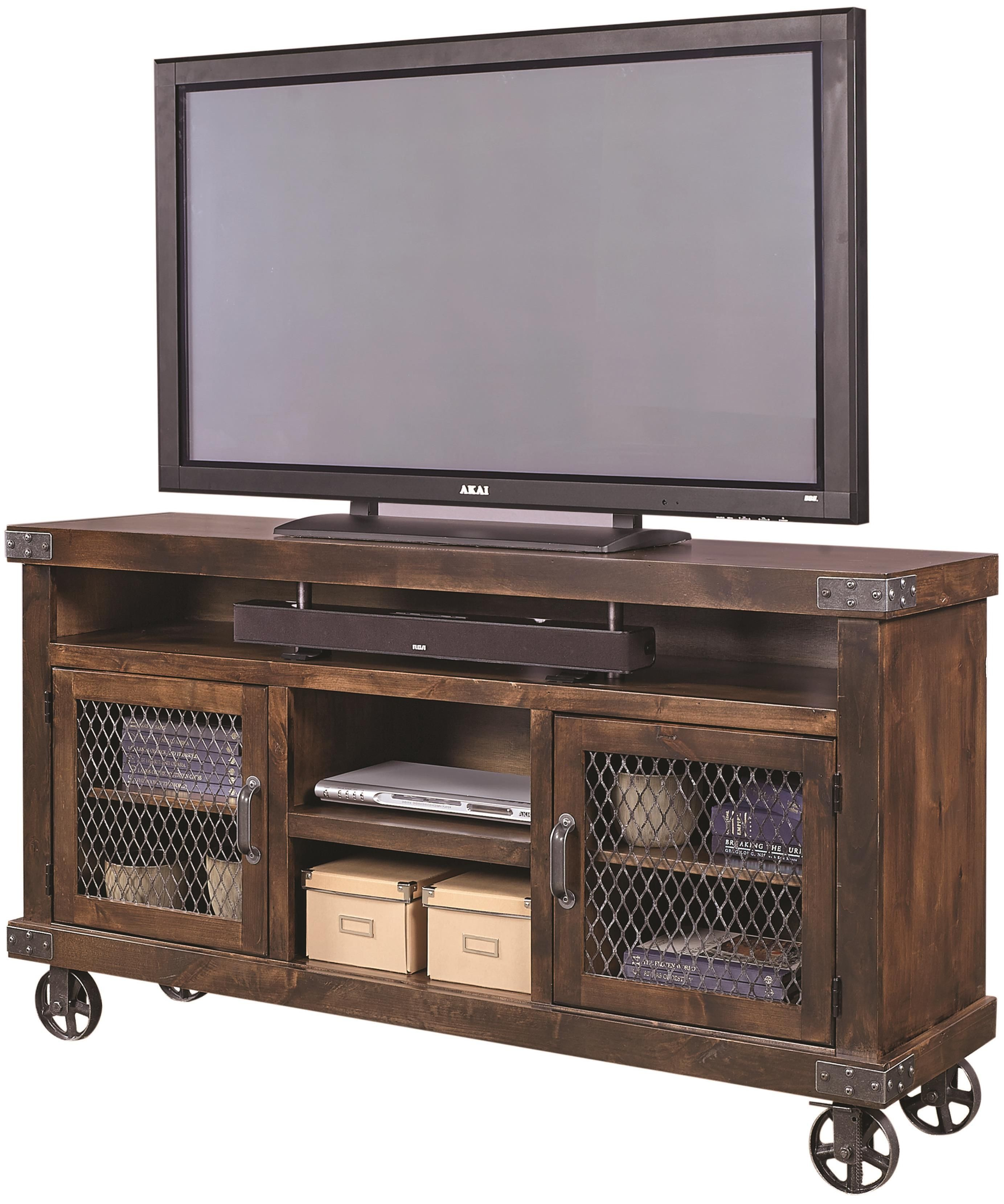 Industrial 65 Console With Metal Casters By Aspenhome Consoles Industrial And Metals