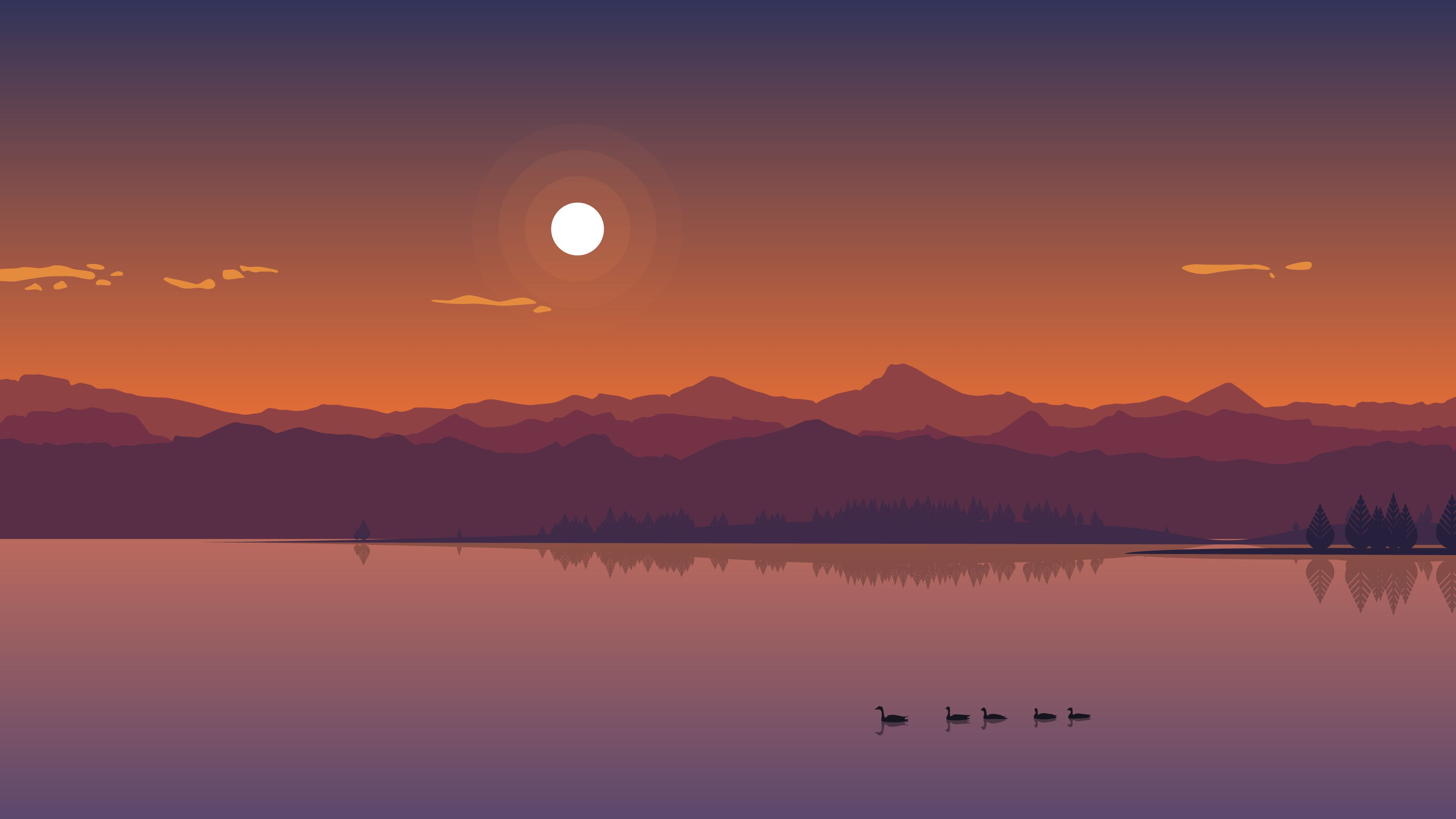 Minimal Lakeside Sunset [3840 x 2160] Minimal wallpaper