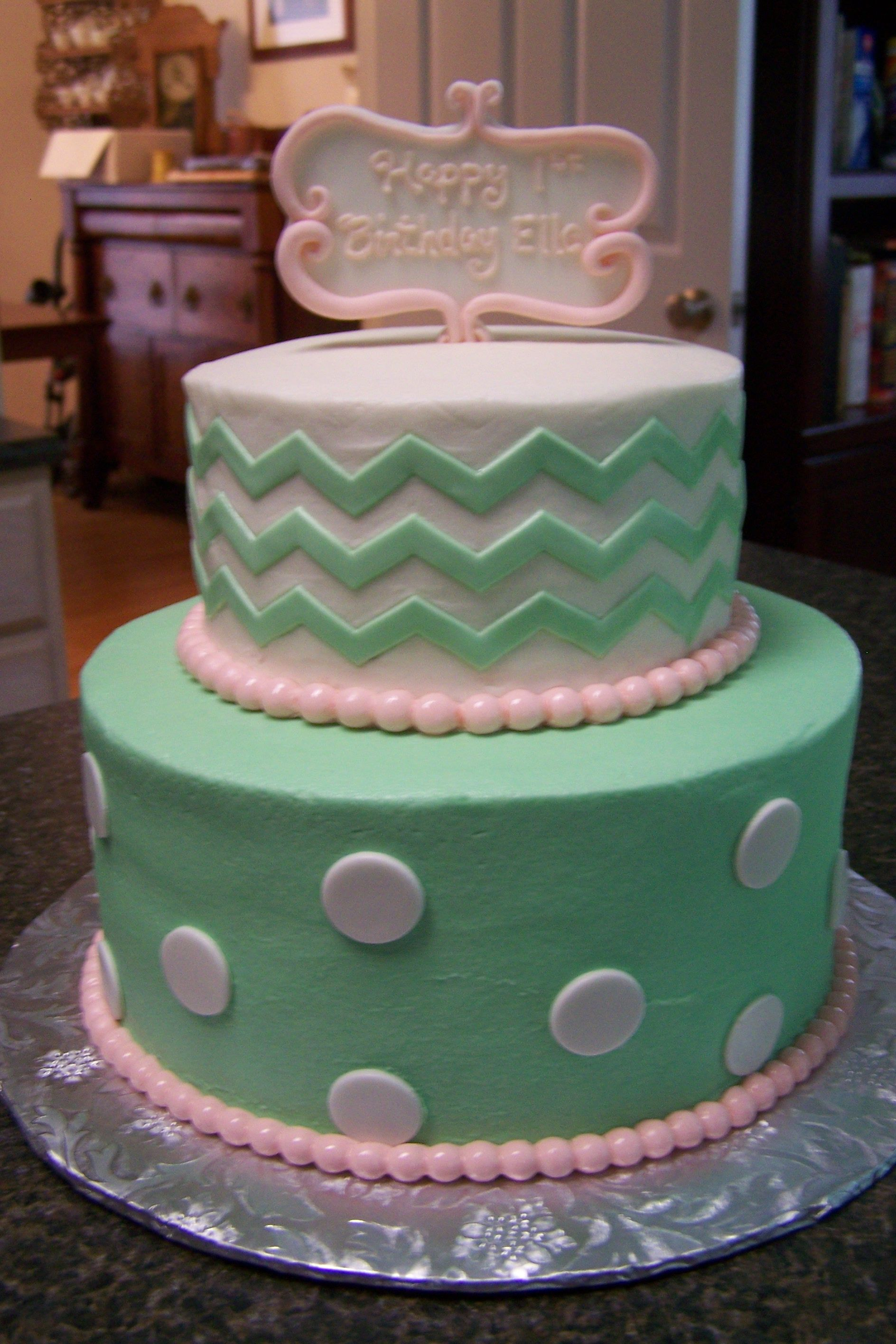 Mint Green and Coral birthday cake Cakes created by Cakes by B