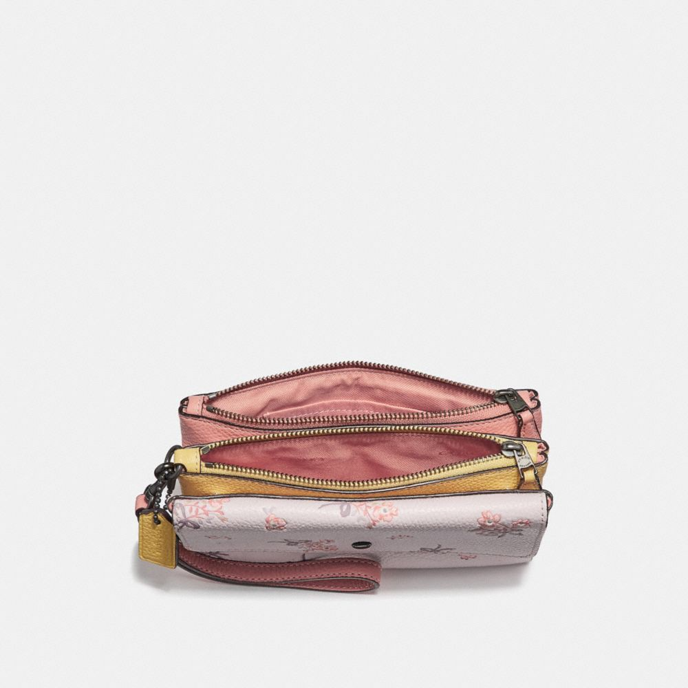 51e69ab9f3a9e Coach Triple Small Wallet In Colorblock With Floral Bow Print - Ice Pink  Multi/Silver