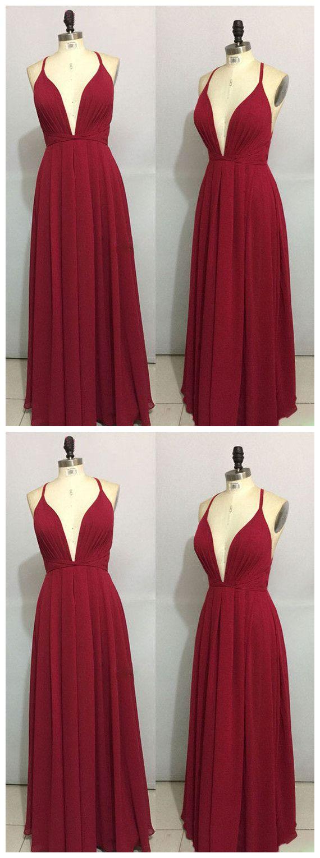Simple burgundy chiffon long prom dress backless evening dress