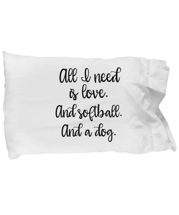 Pet Parent Gifts - Love and Softball and a Dog Pillowcase - Animal Lover Funny Gift Rescue Dog Pets