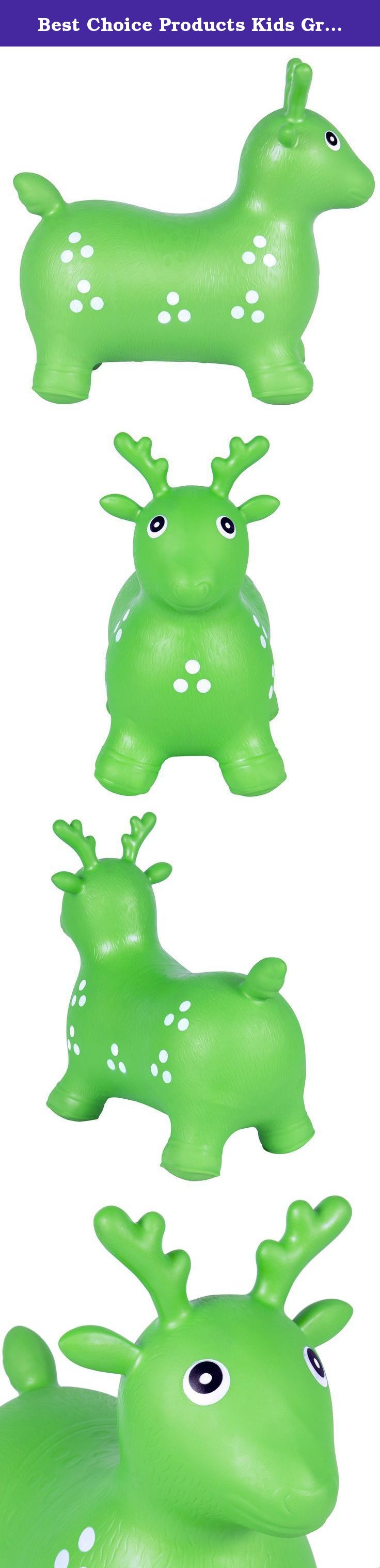 Best Choice Products Kids Green Deer Hopper, Inflatable Jumping Deer Ride-on Bouncy Pump Included. Best Choice Products is proud to present this brand new green jumping Deer. This toy is made out of durable comfortable material that can support you child weight and allow them to have fun by jumping up and down on this toy. This little pet can easily become your child's best friend because it is light to carry and can be used inside and outside. With its cute face and adorable decoration…