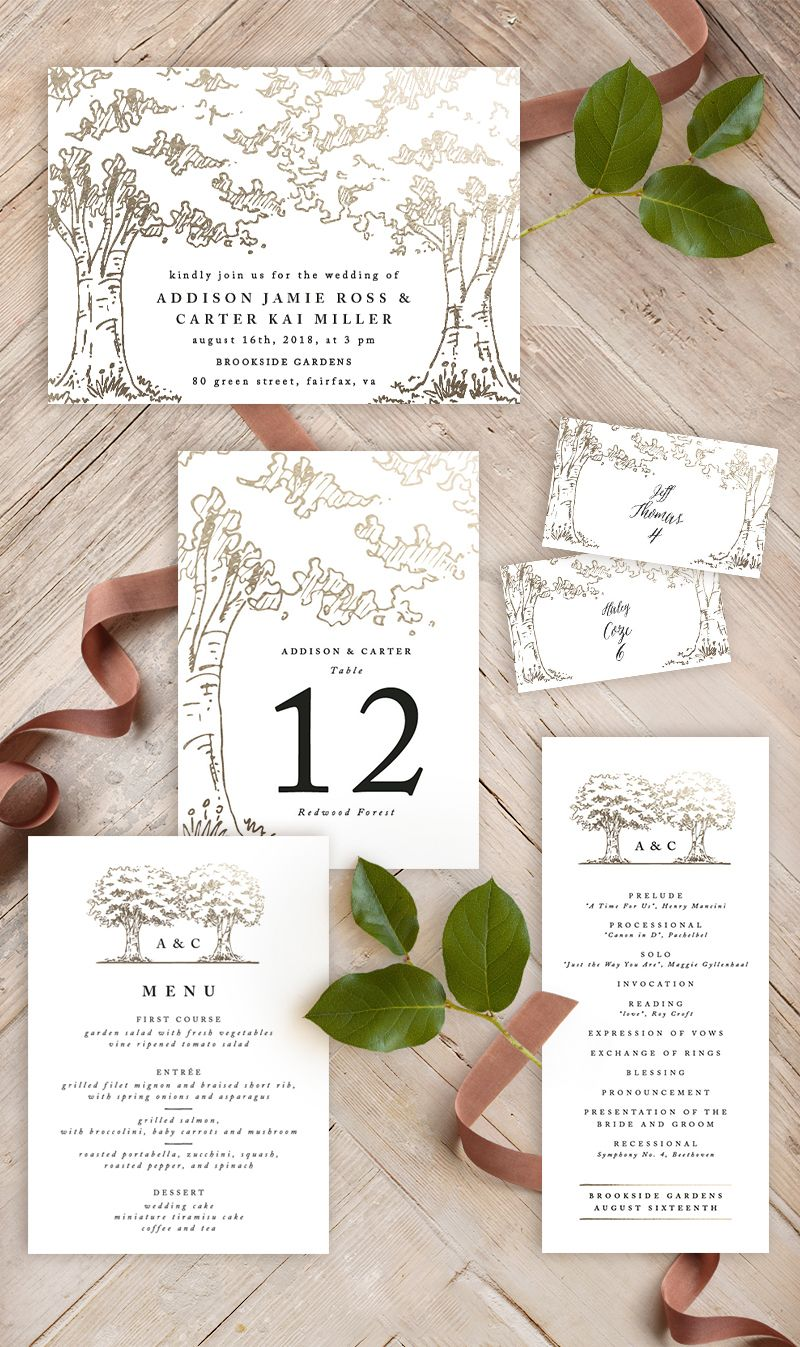 A poem for the trees with images minted wedding
