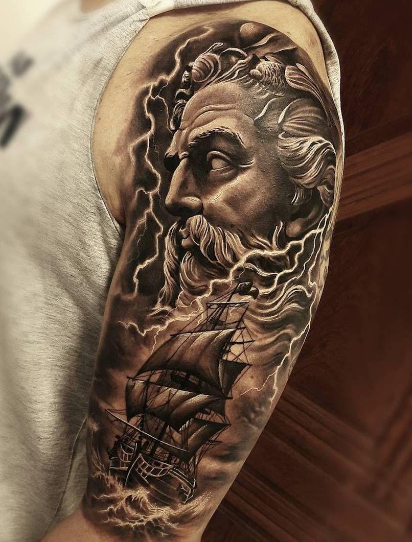 Poseidon Chest Tattoo : poseidon, chest, tattoo, Poseidon, Tattoos, Tattoo, Insider, Tattoo,, Badass,