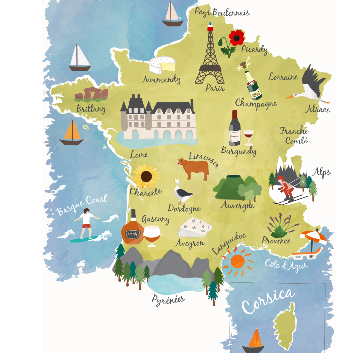 This interactive map of France has 2 illustrated maps with