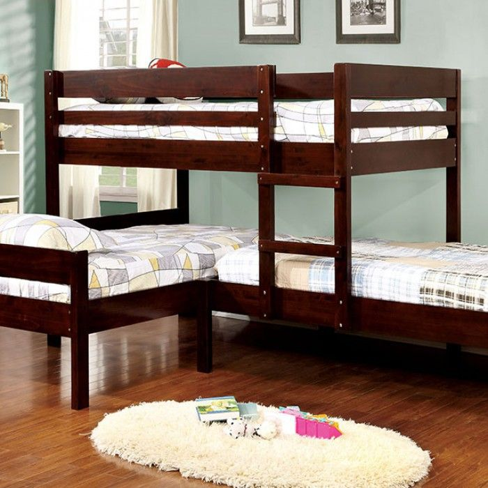 Aiden Espresso Wood Corner Triple Twin Bunk Bed in 2020