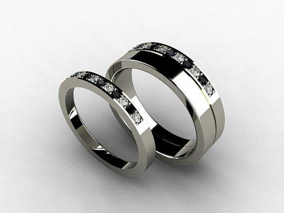 wedding band set titanium ring diamond titanium wedding band men black