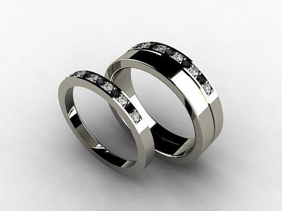 Wedding Band Set, Titanium Ring, Diamond, Titanium Wedding Band, Men, Black