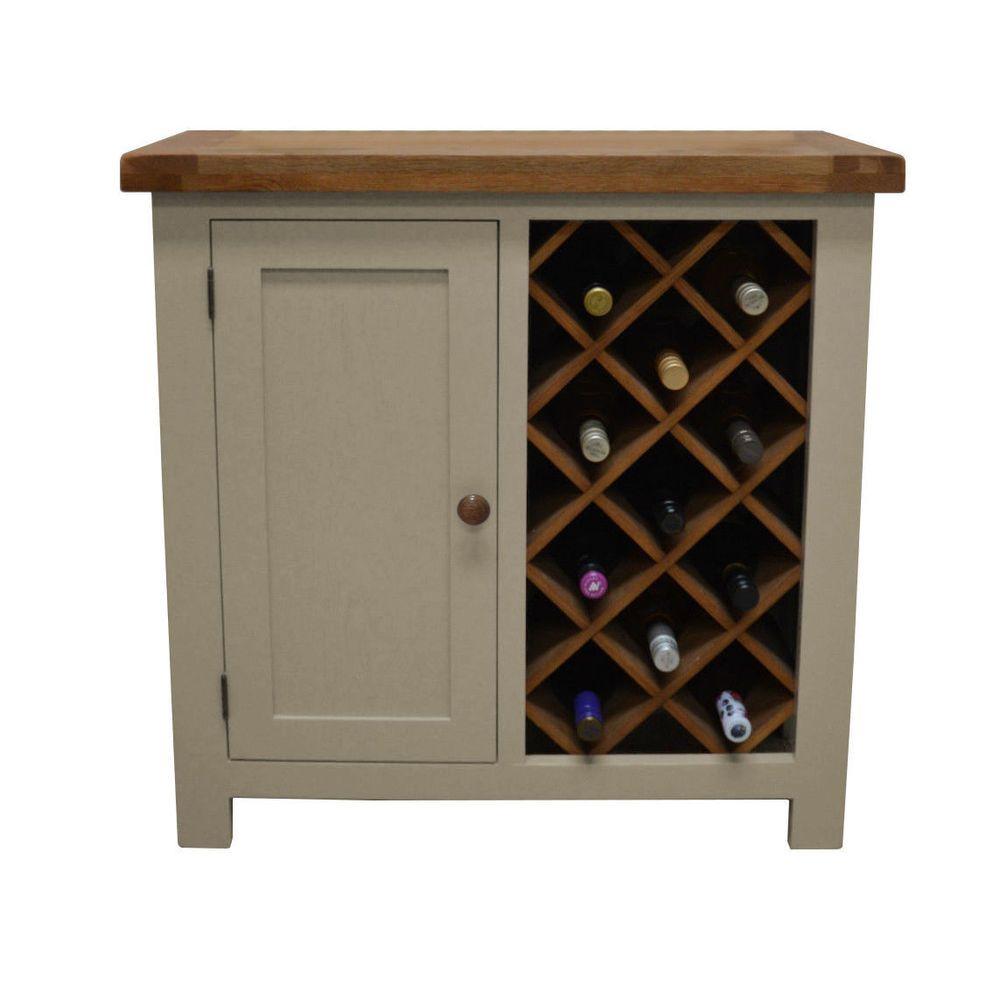 Croft Painted Oak Wine Rack With Storage Drinks Cabinet Cupboard
