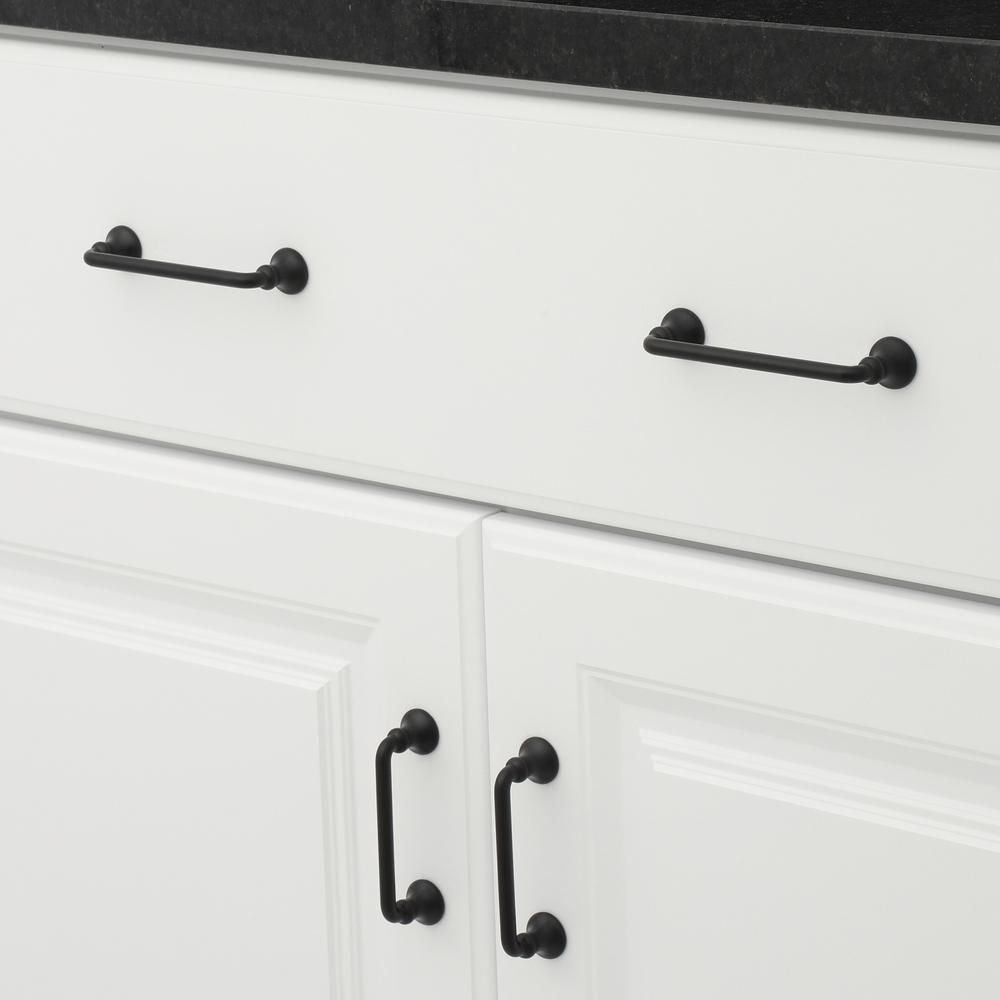 Richelieu Hardware 3 In Traditional Matte Black Cabinet Pull Bp873900 The Home Depot Traditional Drawers Black Cabinets Cabinet Hardware