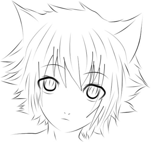 Neko Boy Photoshop Lineart D Neko Boy Anime Wolf Girl Anime Sketch