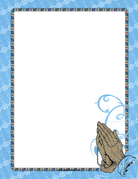 wrinkled hands folded in prayer around a rosary adorn this printable blue border for christian believers
