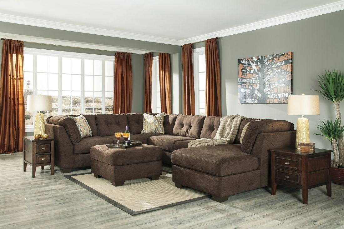 Ashley Furniture Delta City Sectional in Chocolate | Sectional Sofas ...