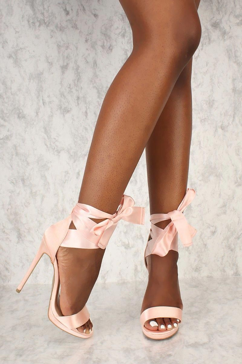 fefbed554a462 Buy Sexy Nude Satin Strappy Lace Tie Open Toe Single Sole High Heels with  cheap price