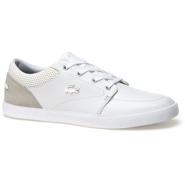 Lacoste Men's Bayliss Low-Rise Leather Sneakers ($90) ❤ liked on Polyvore  featuring men's fashion, men's shoes, men's sneakers, shoes, white, mens  sneakers ...