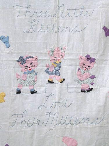 Vintage 1930s Three Little Kittens Applique Quilt Kit Top