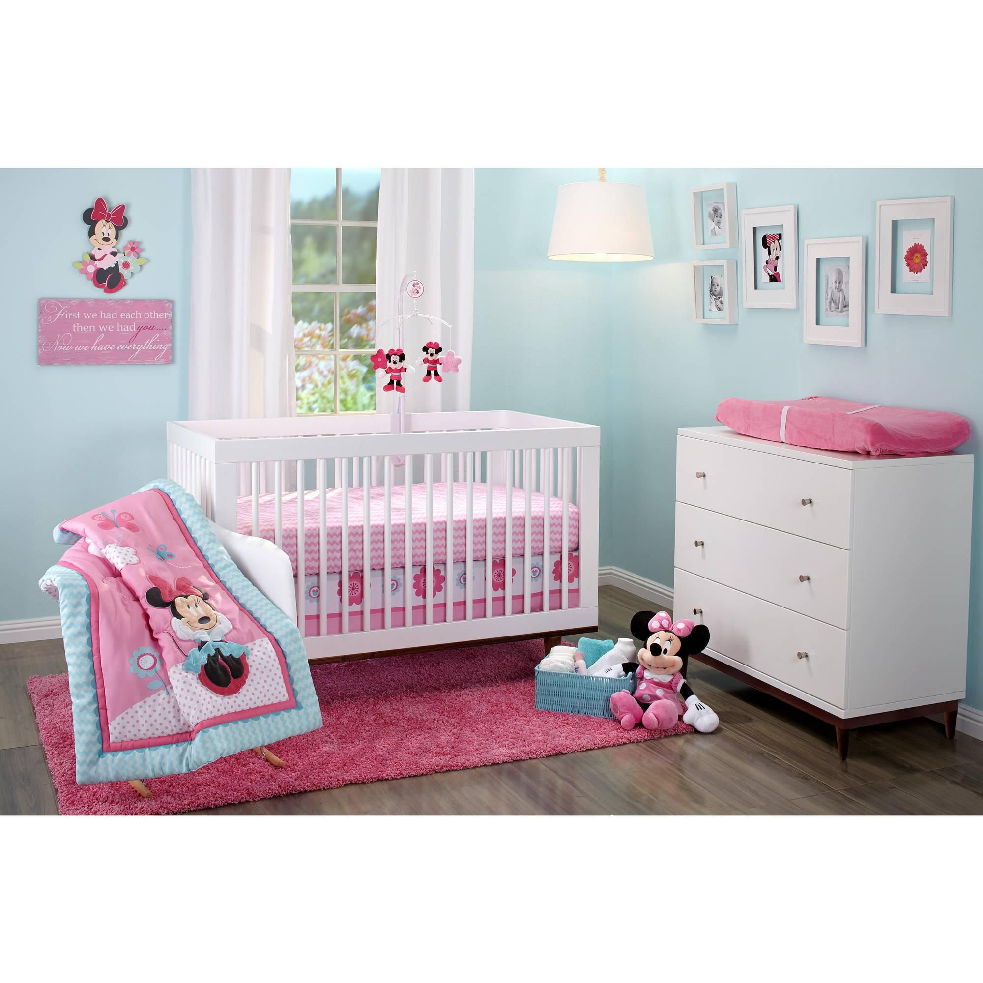 bedding disney minnie mouse happy day 3piece crib bedding set walmart com