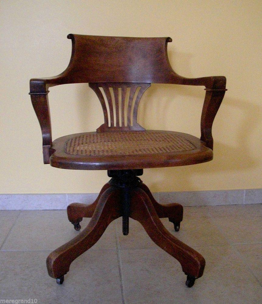 Fauteuil de bureau americain ancien de marque standard wishlist braderie chair furniture et - Bureau bois ancien ...