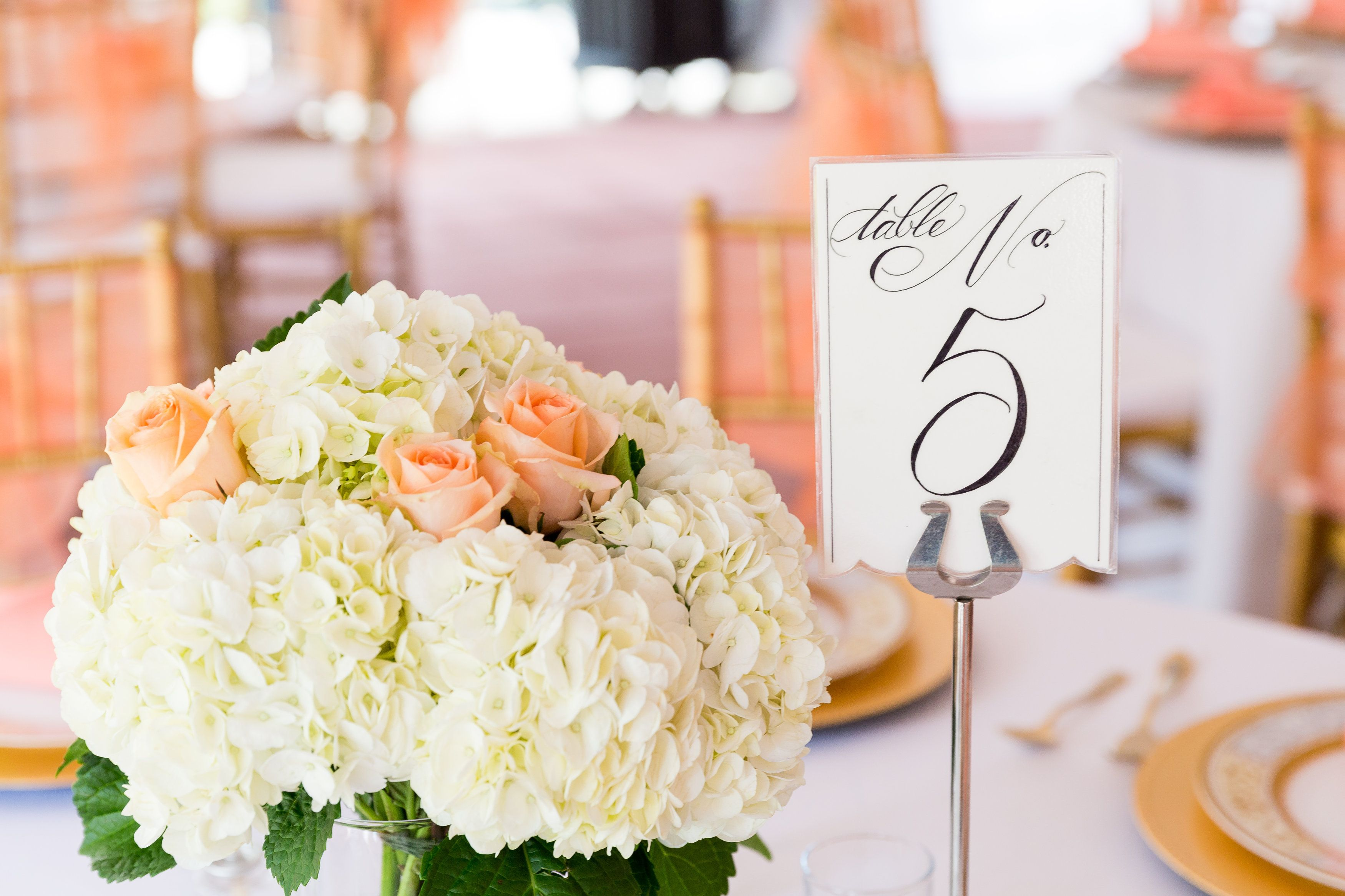 Wedding Centerpiece White Hydrangea Peach Rose Center Piece Whole Foods Flowers