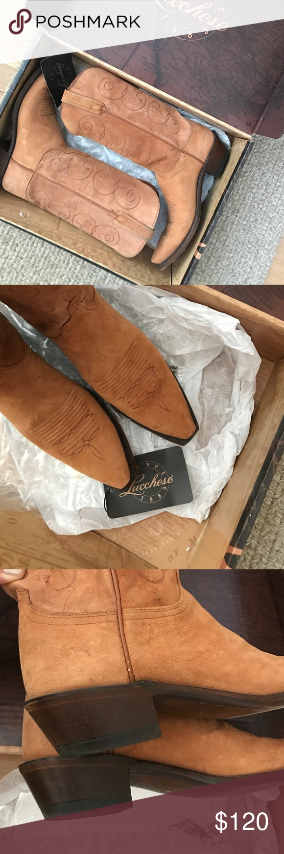 Lucchese Classics women's boots - Tan Size 9B. Fits true to size. Worn about 4 times. Sueded leather - tan/ginger color. Original box and boot inserts. Lucchese feel and quality. A bit of denim color along inside from wearing with dark jeans. Lucchese Shoes Heeled Boots