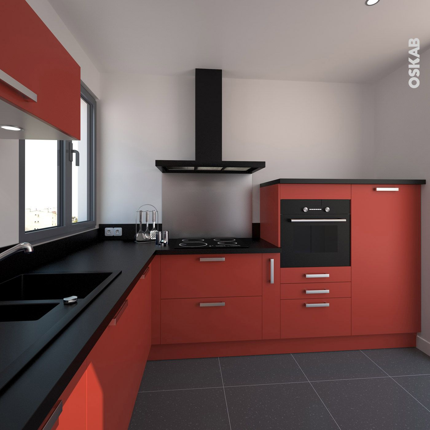 cuisine rouge porte effet soft touch ginko rouge mat hotte inox poignee meuble et plan de. Black Bedroom Furniture Sets. Home Design Ideas
