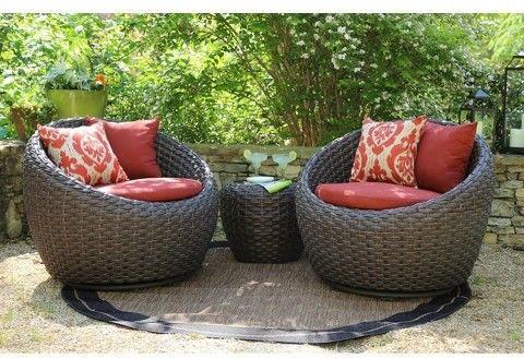 Ae Outdoor Corona 3 Piece Wicker Conversation Patio Furniture Set