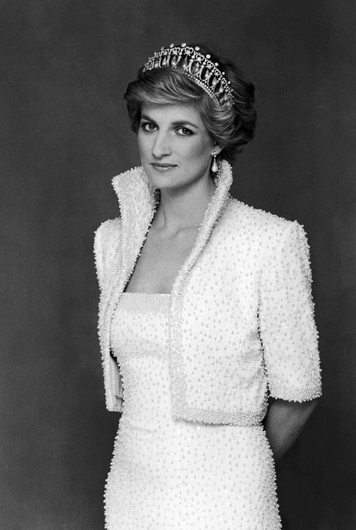 "Diana, Princess of Wales. In Catherine Walker, later to be referred to as ""The Elvis""."