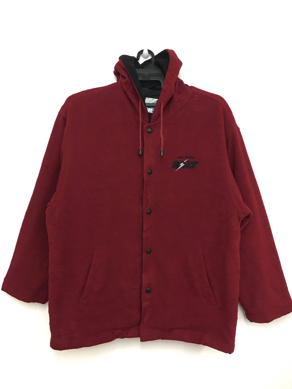 Lightning bolt fleece jacket hoodie snap button large size maroon