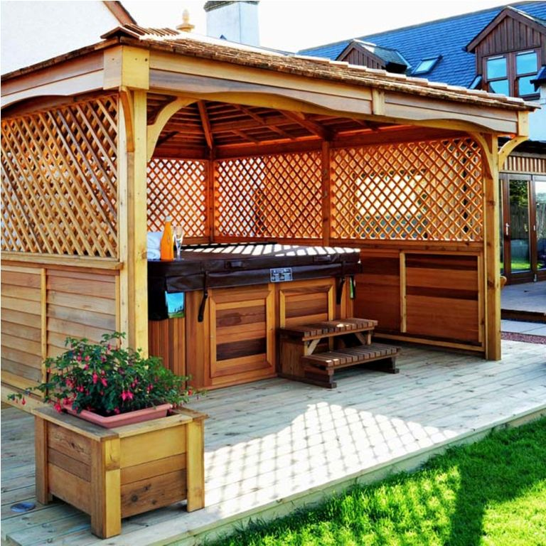 Exterior: Stylish Enclosed Hot Tub Gazebo Plans from What ...
