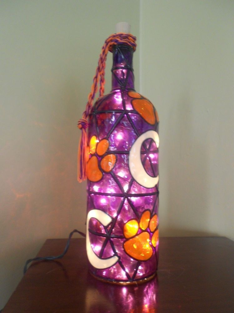 Hand painted lighted wine bottle clemson inspired stained for Hand painted glass bottles