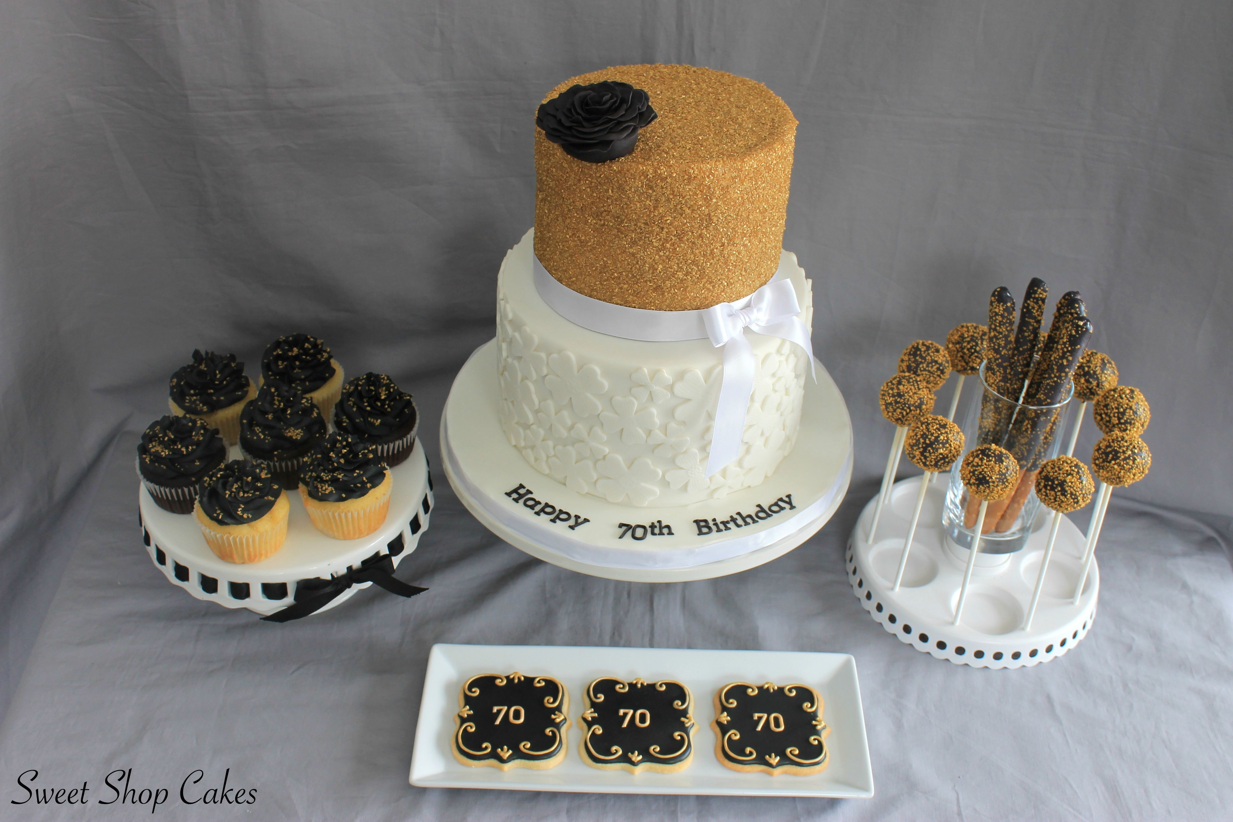 Black & Gold birthday cake with matching sweets