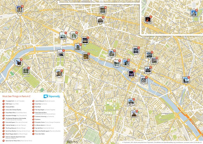 Download a printable Paris tourist map showing top sights and attractions.