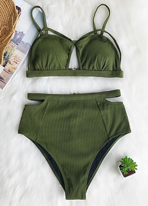 623c0ad947 This bikini set will add sheen to the beach~ Timleless army green! Halter  design and high waisted bottom help you feel comfortable and confident all  day ...