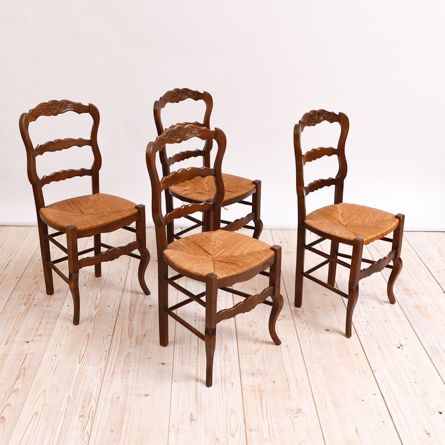 Set of Four French Antique Dining Chairs with Rush Seats - Set Of Four French Antique Dining Chairs With Rush Seats