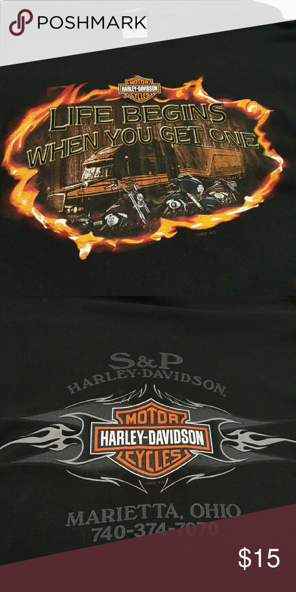 "Harley Davidson Tee Men's XL  ""LIFE BEGINS WHEN YOU GET ONE"" Excellent condition Harley-Davidson Shirts Tees - Short Sleeve"