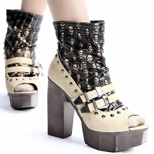6c7e5d987736 Nude Studded Skull Platform High Heel Open Toe Punk Boots Women SKU-143055
