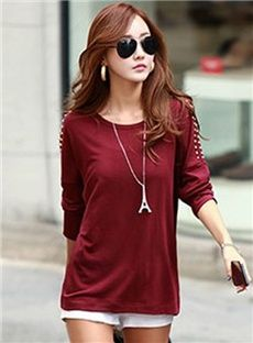 Well Known Korean Pure Color Long Sleeves Round Neckline Rivet T-shirt