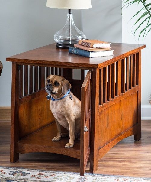 Wood Large Pet Crate End Table Cage Home Dog House Indoor Puppy Bed Office
